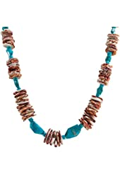 Orange Spiny Oyster Shell, Turquoise, Native American Santo Domingo Kewa Pueblo Necklace, 29 inches