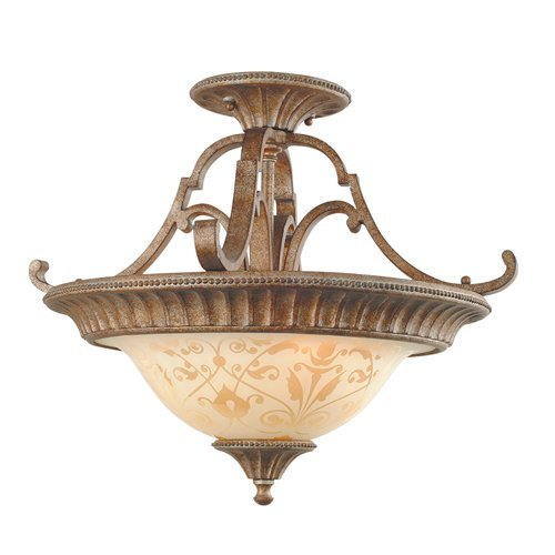 Royce Lighting RSF2250-82 Belcaro 2-Light Ceiling Fixture with Cream Sandblasted Glass, Gilded Imperial Silver