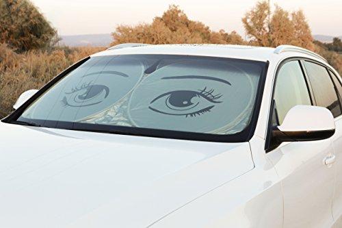 Car Windshield Sunshade by iShade: Jumbo and Large Sizes with Eye Design, Non Slip Mats, Zippered Carry Bag plus Free American Flag Keychain(Jumbo 59