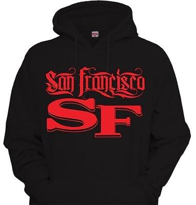Mens SF San Francisco Tattoo Font Hoodie Sweatshirt Black Red The city