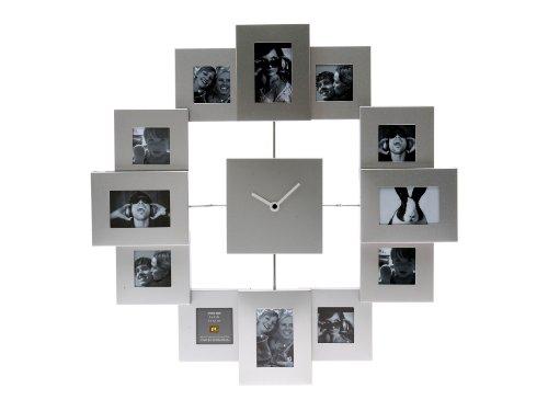 PT Photo Frame Clock Family Time Brushed, Aluminium Silver, Large