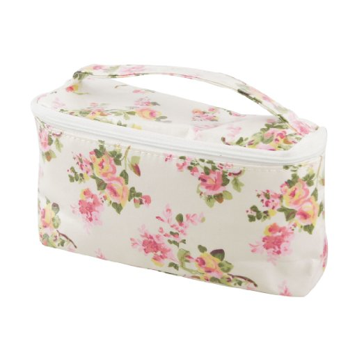 Pink Flower Water Resistant Makeup Cosmetic Bag Container w Hand Strap