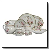 Lynns Charmed Rose 49-Piece Dinnerware Set, Service for 8