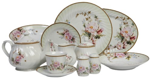Lynns Charmed Rose 49-Piece Dinnerware Set Service for 8 Review  sc 1 th 163 & Fine Dinnerware Sets Grand Sales