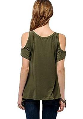 RAYWIND Women's Vogue Shoulder Off Wide Hem Design V-neck Casual Top Shirt