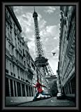 Your Space UK Paris Eiffel Tower Girl In A Red Coat Black Framed 3D Poster 74Cm X 54Cm