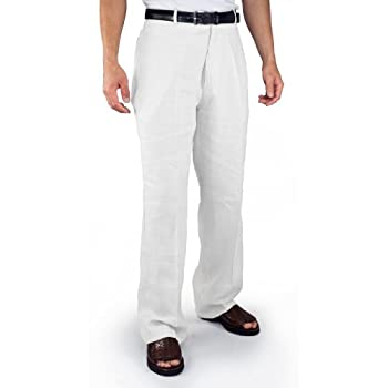 Flat front 100% Linen Pants in White