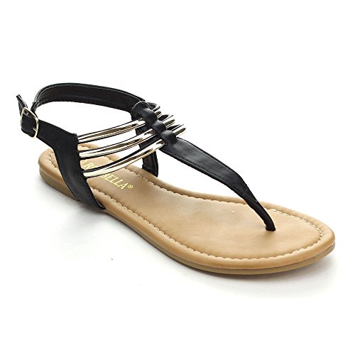 RCK BELLA ARCO-3 Women's Casual Golden Sling Back T-Strap Flat Thong Sandals