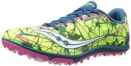 Saucony Women\'s Shay XC4 Flat Cross Country Flat Shoe,Citron/Navy/Pink,5 M US