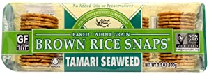 Brown Rice Snaps, Tamari Seaweed, 3.5-Ounce Packs (Pack of 12) by Edward & Sons