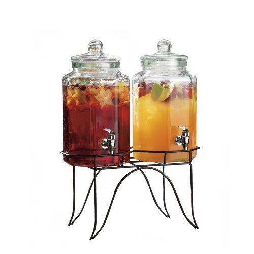 Palais Glassware Clear Glass Duplex Beverage Dispenser - 1 Gallon Each Jug, with Glass Lids and Metal Stand (Flat Glass panels) (Glass Water Jug Spigot compare prices)