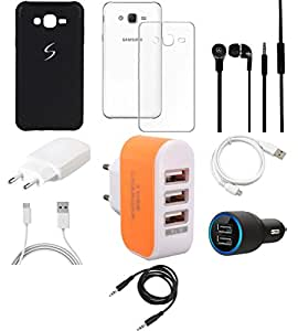 NIROSHA Cover Case Charger Headphone USB Cable for Samsung Galaxy ON5 - Combo