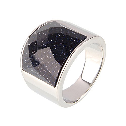 Beauty7 Size 12 Galaxy Milky Way Faceted Black Polished Stainless Steel Wide Band Ring Men Gift Wedding (Galaxy Ring compare prices)