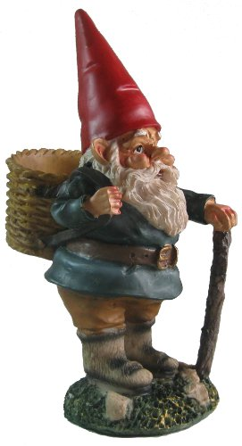 Garden Gnome with Walking Stick and Basket 10