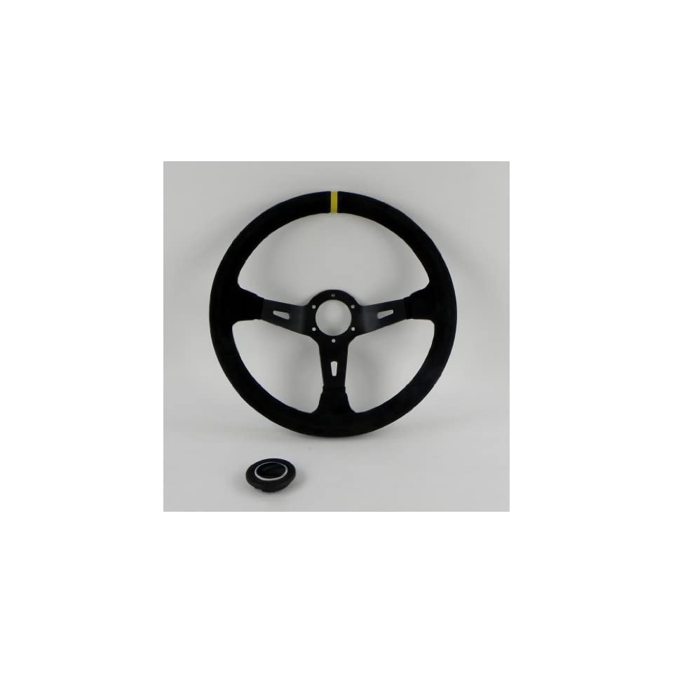 Sport Line Racing Steering Wheel   Racing 3   330mm (12.99 inches)   Black Suede Leather with Yellow Stripe   Black Spokes   90mm (3.54 inch) Deep Dish   Part # 20187/1/S