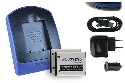 2 Akkus + Ladegerät (USB, KFZ, Netz) für Nikon EN-EL10 / Coolpix S60 S80 S200 S202 S203 S205 S210 s. Liste