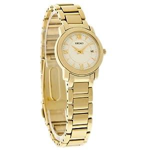 Seiko Quartz Ladies White Dial Gold Tone Bracelet Watch SXDC22