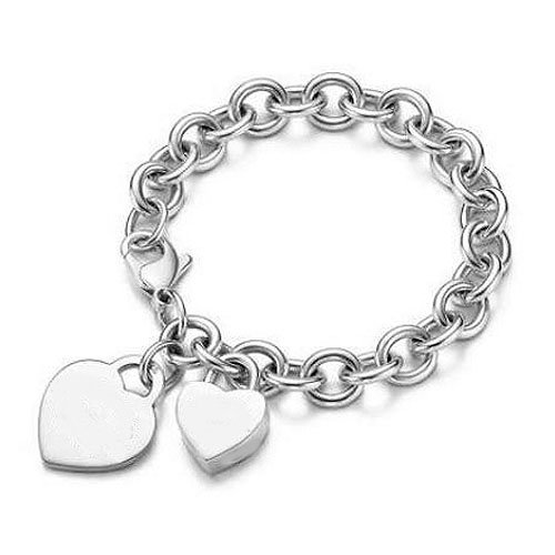 Sterling Silver Heart Tag and Heart Lock Charm