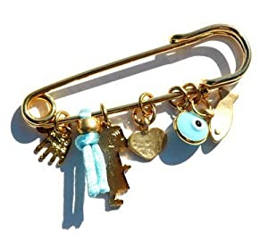 Golden Baby Boy Pin with Multiple Protection Charms in Baby Blue