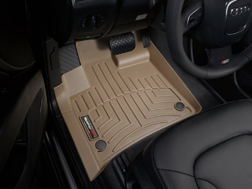 2007-2013 Audi Q7 Tan WeatherTech Floor Liner (Full Set) [With No 2nd Row Center Console] 1971 1974 bmw 3 0csi weathertech techshade techshade