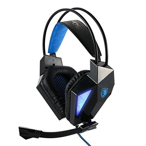 Sades® SA7107.1Surround Sound Stereo Pro PC USB Gaming di cuffie stereo Gaming Headset Usb Professional su orecchini con lampada a LED Noise Cancellation & Wonderful effetto sonoro di musica cuffia per desktop notebook laptop (Nero)
