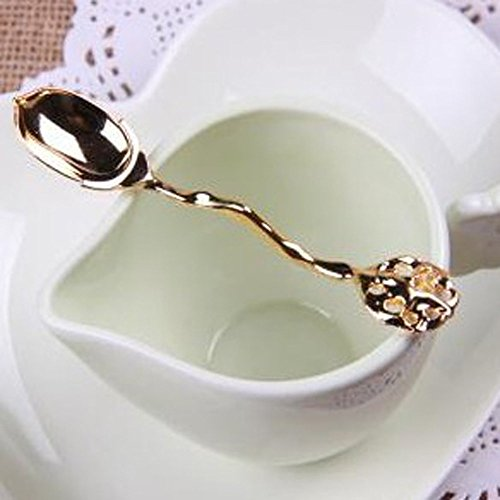 Gold Retro Vintage Palace Style Decorative Coffee Tea Spoon Scoop Diamond