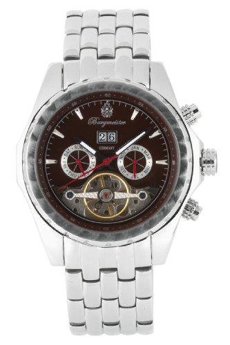 Burgmeister Valencia BM137191B Herren Automatik Uhr braunes Zifferblatt offene Unruh Datum/Tag/Monat doppelte Sicherheitsfaltschließe