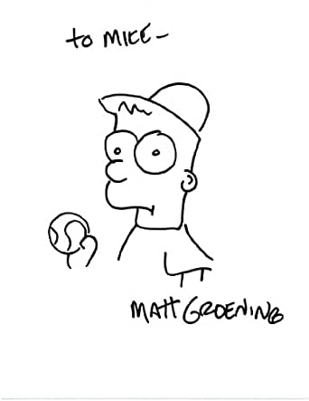 Matt Groening Signed Drawing of Bart Simpson at Amazon's