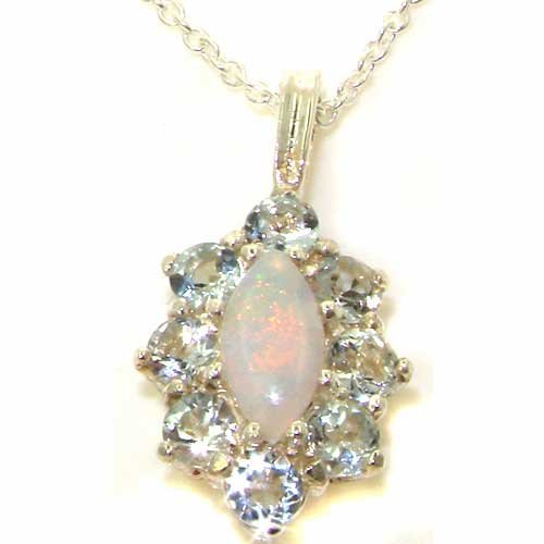 Luxury Ladies Solid White 9ct Gold Natural Opal & Aquamarine Cluster Pendant Necklace - Ideal for Christmas, Birthday, Anniversary or Mothers Day Gift