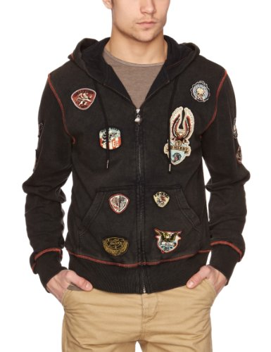 Ed Hardy Patch Work Special Men's Hoodie Black Small