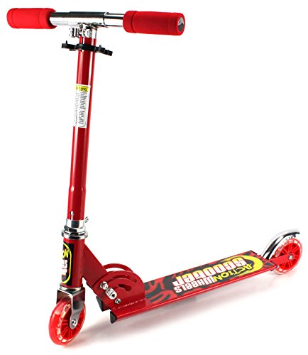 Xtreme Action Wheels Two Wheeled Metal Folding Children'S Toy Kick Scooter W/ Adjustable Handle Height, Rear Fender Brake (Red)