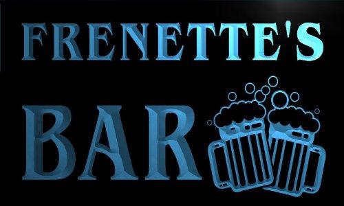 w021514-b FRENETTE'S Nom Accueil Bar Pub Beer Mugs Cheers Neon Sign Biere Enseigne Lumineuse