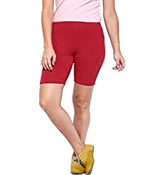 Espresso Solid Women's Basic Shorts-RED