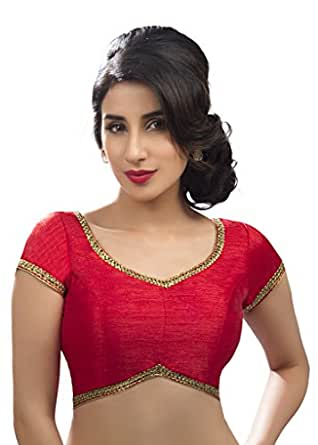 Blouses Women's Readymade Back Open Lace Saree Blouse Red: Clothing