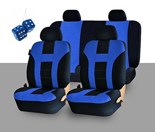 Zone Tech Universal Fit Premium Quality 100% Waterproof Breathable Full Set of Blue and Black Racing Style Seat Covers + Pair of Bold Blue Plush Hanging Fuzzy Dice Set (Blue And White Seat Covers compare prices)