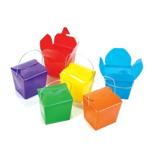 One Dozen (12) Neon Chinese Takeout Plastic Gift Boxes