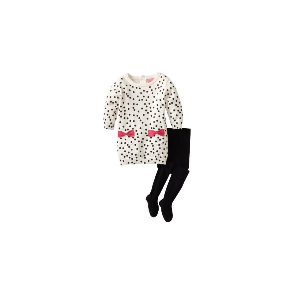 Isaac Mizrahi Baby Girls Sweater Knit Polka Dot Dress With Tight, Crème, 18 Months