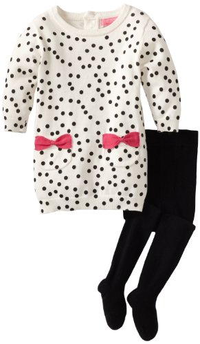 Isaac Mizrahi Baby Girls' Sweater Knit Polka Dot Dress With Tight, Crème, 18 Months