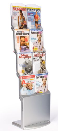 Displays2Go Vr8Slvrz Magazine Display - Portable Design, 8 Polycarbonate Pockets, Collapsible With Carry Bag, Silver Finish
