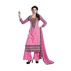 Meghali Women's Cotton Silk Zari Unstitched Suit (Tonika06_Pink_Free Size )