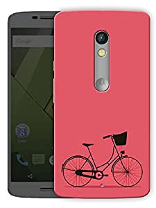 """Minimal Bicycle - Red Printed Designer Mobile Back Cover For """"Motorola Moto X Play"""" By Humor Gang (3D, Matte Finish, Premium Quality, Protective Snap On Slim Hard Phone Case, Multi Color)"""