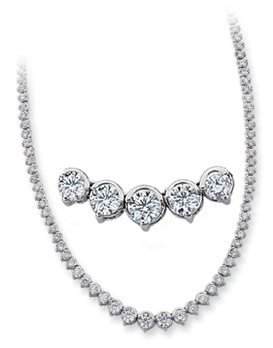 14K White Gold 7.95cttw Round Diamond Necklace