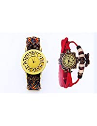 COSMIC BROWNISH STRAP WITH ORANGE SHADE LEATHER WOMEN WATCH WITH FREE RED BRACELET WATCH- SET OF 2 ANALOG WATCH
