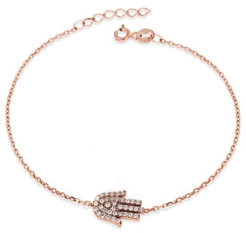 Sterling Silver Rose Gold Plated Cubic Zirconia Hamsa Hand Bracelet of Length 19cm