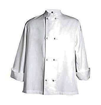 San Jamar J050 Chef Revival 24/7 Poly Cotton Blend Long Sleeve Unisex Cool Crew Jacket with Cloth Knot Bottons, 2X-Large, White