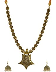 Charisma Creations Dazzling Looks Necklace Set In Brass Metal For Women