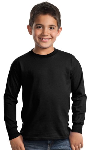 Port & Company Youth Heavyweight Long-Sleeve T-Shirt_Jet Black_Medium