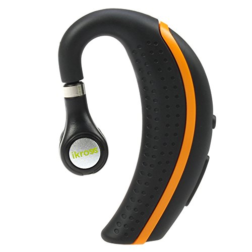 Ikross Wireless Bluetooth V3.0 Behind-The-Ear Handsfree Headset With Microphone - Black/Orange