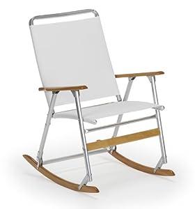 ... Back Folding Rocking Arm Beach Chair, White - Patio Lawn & Garden 7