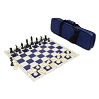 Heavy Tournament Triple Weighted Chess Set Combo - Navy Blue